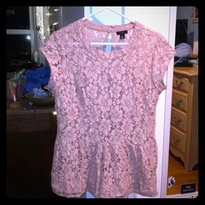 Pink floral see though shirt